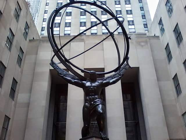 Get off at the 47-50 Streets - Rockefeller Station  to see this guy, Atlas